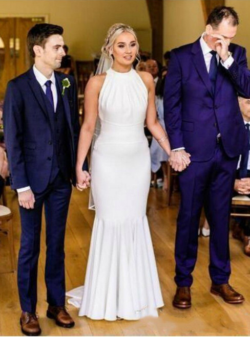 Find And Buy The Perfect White Mermaid Satin Covered Button Back Wedding Dress
