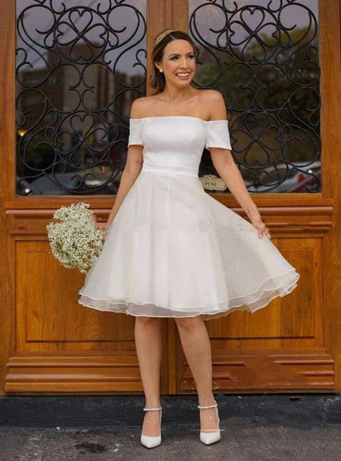 White Organza Off the Shoulder Short Sleeve Knee Length Short Wedding Dress