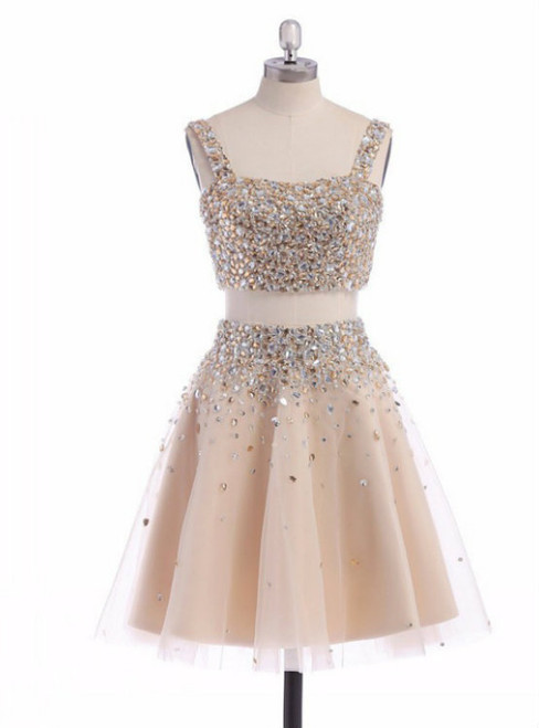 A-line Sleeveless Short Straps Crystal Homecoming Dress