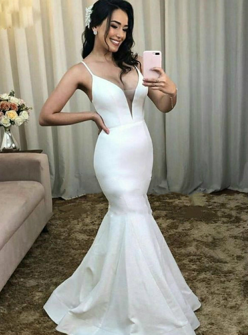 Shop Long Sexy White Mermaid Satin Spagehtti Straps Wedding Dress