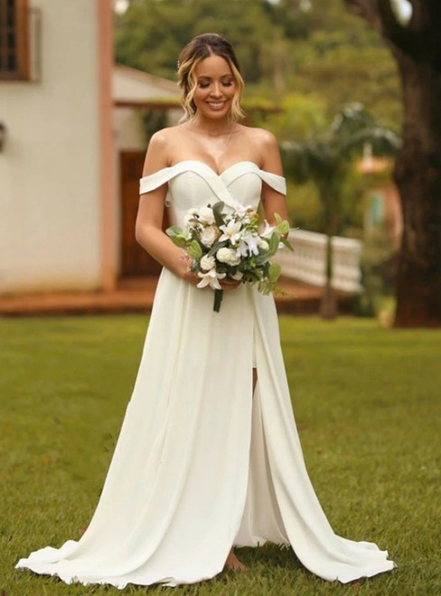 Shop Designer A-Line White Satin Off the Shoulder Wedding Dress With Split