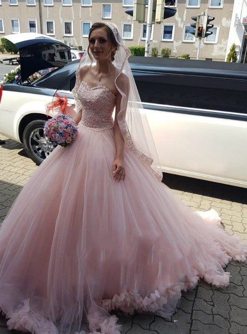 Princess Pink Ball Gown Tulle Sweetheart Appliques Beading Wedding Dress