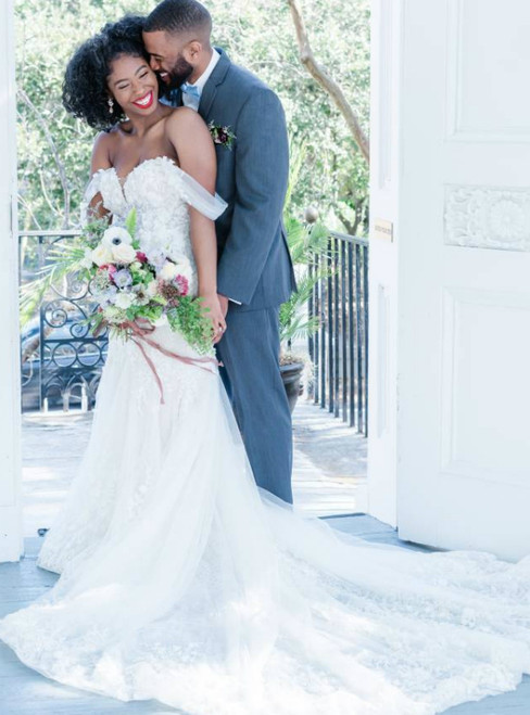 Never Miss Out On White Mermaid Tulle Off the Shoulder Appliques Wedding Dress