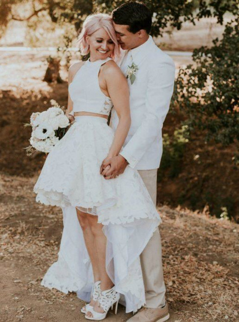 Find The Perfect Shade Of White Lace Tulle Two Piece Hi Lo Beach Wedding Dress