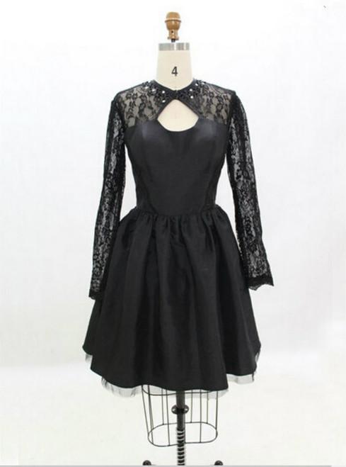 Handmade Black Homecoming Dress Taffeta Long-sleeve Dresses Homecoming Dresses