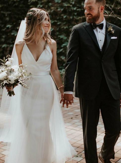 Simple Mermaid Satin Spaghetti Straps Wedding Dress With Detachable Train