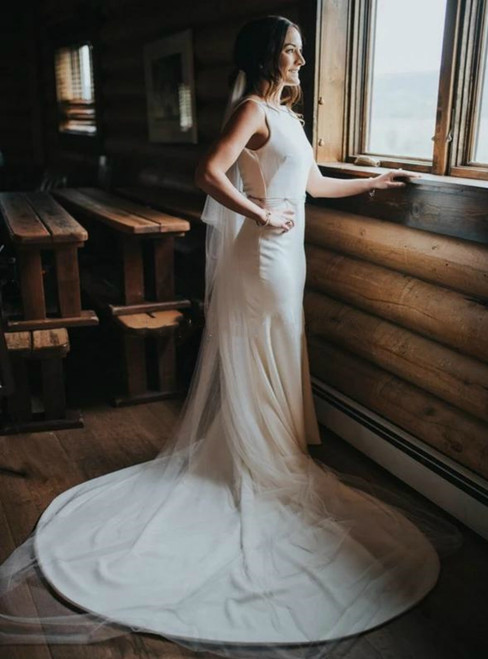 Demand Attention InMermaid Satin Bateau Backless Wedding Dress With Beading