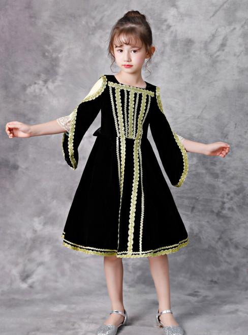 Black Velvet Long Sleeve Lace Knee Length Rococo Costume Dress