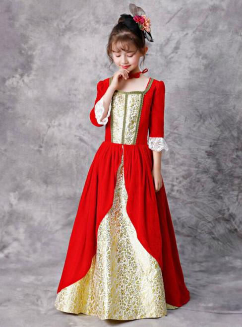 Red Velvet Lace 3/4 Sleeve Square Antonietta Rococo Dress