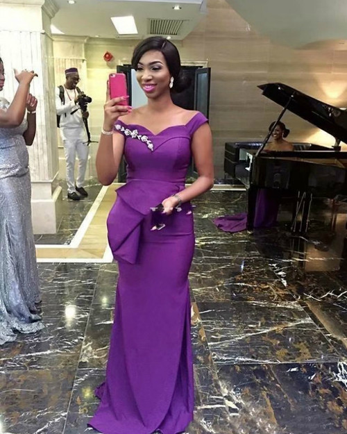 We Offer a Large Numbers Of Sexy Purple Mermaid Satin Off the Shoulder Bridesmaid Dress