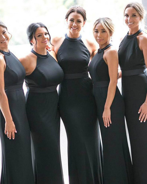We Offer a Variety Of Black Mermaid Satin Halter Backless Bridesmaid Dress