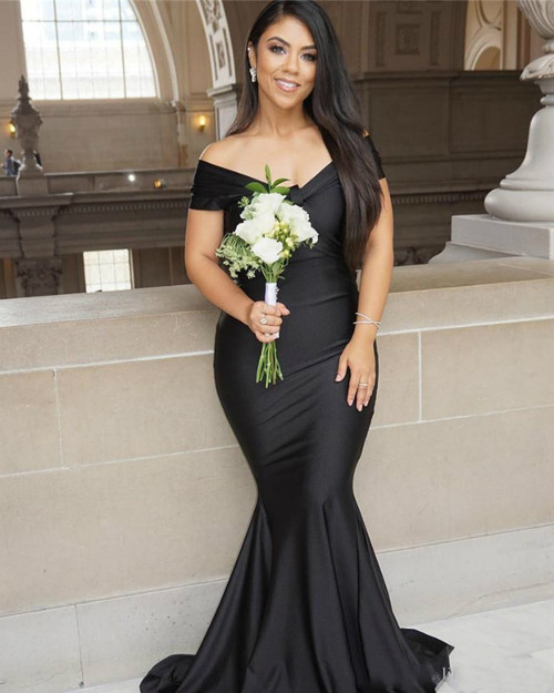 Best Discount And High Quality Black Mermaid Satin Off the Shoulder Pleats Bridesmaid Dress
