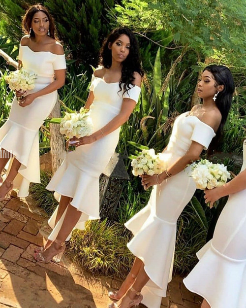 Discover The Latest White Mermaid Satin Off the Shoulder Hi Lo Bridesmaid Dress