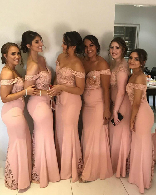 Purchase Your Favorite Pink Mermaid Satin Lace Off the Shoulder Long Bridesmaid Dress
