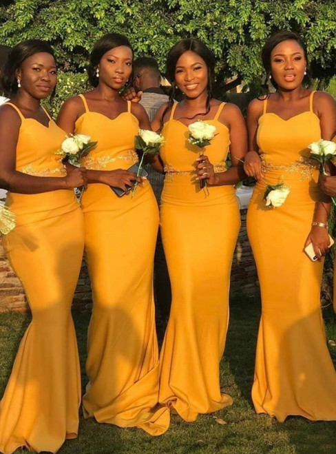 We Provide Yellow Mermaid Satin Spaghetti Straps Lace Appliques Bridesmaid Dress