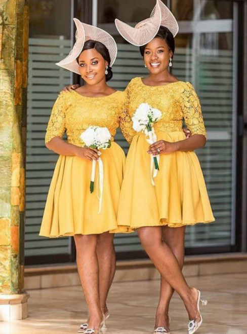 Yellow Satin Lace Short Sleeve Knee Length Bridesmaid Dress