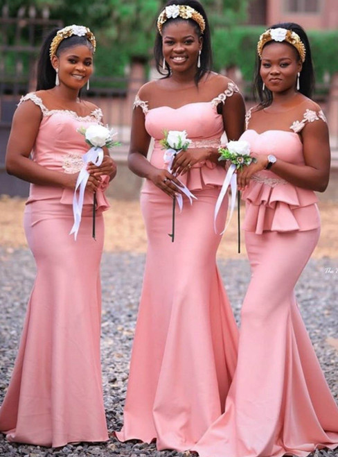 The Worldwide Shipping Online Store Pink Mermaid Satin Cap Sleeve Appliques Bridesmaid Dress