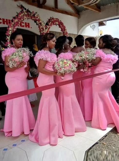 For Your Big Night Sexy Pink Mermaid Satin Organza Ruffles Bridesmaid Dress