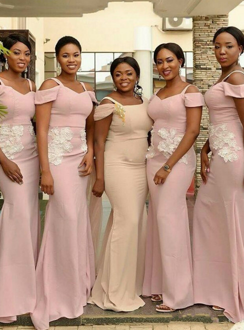 Available In Sizes 0-24 Pink Sheath Satin Spagehtti Straps Appliques Bridesmaid Dress