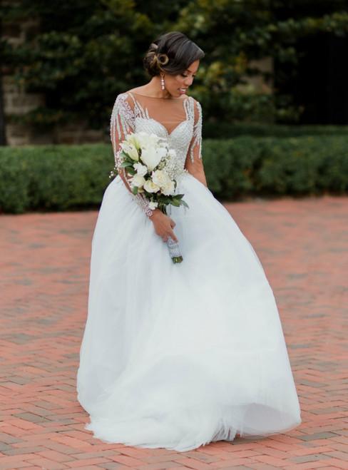 White Tulle Long Sleeve Beading Bateau Backless Wedding Dress
