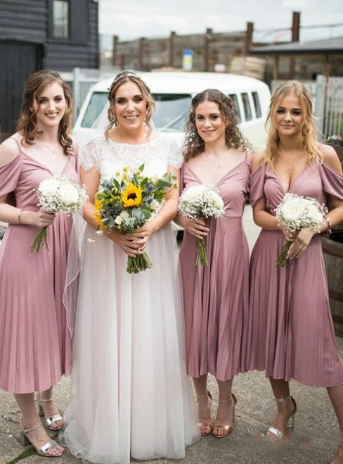 Shops Around The World Pink Chiffon Spagehtti Straps Tea Length Pleats Bridesmaid Dresses