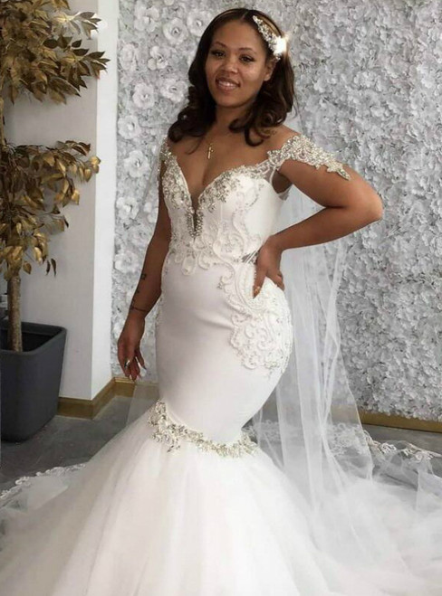 Get Your Discounts White Mermaid Tulle Deep V-neck Beading Crystal Wedding Dress