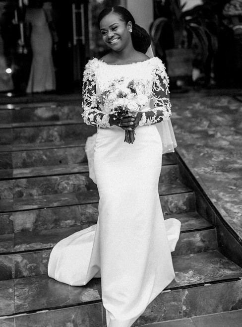 An Extra 40% Off Storewide White Mermaid Satin Long Sleeve Bateau Appliques Pearls Wedding Dress