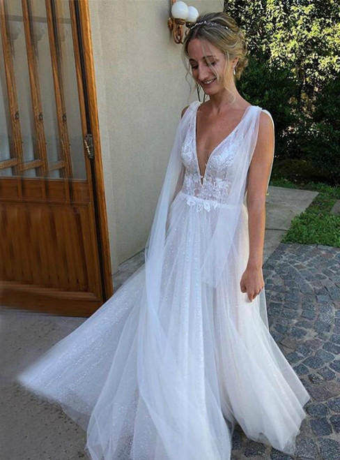To Choose From Simple White Tulle Deep V-neck Appliques Wedding Dress