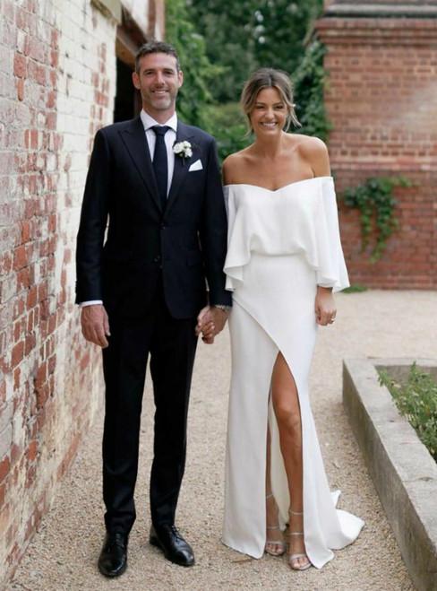 In One Step White Mermaid Off Shoulder Front Split Backless Satin Wedding Dresses