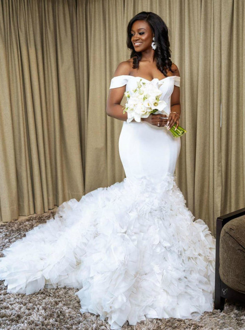 Just Be The One For You White Satin Tulle Mermaid Off the Shoulder Ruffles Wedding Dress