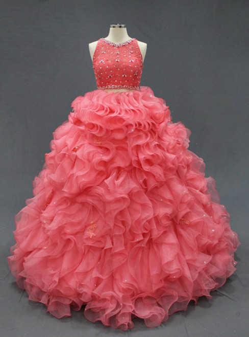 Coral Two Pieces Lace Crop Oranza Ruffle Quinceanera Dresses