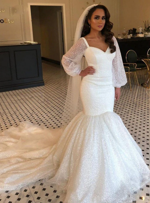 At Incredible Price Ivory White Sparkle Mermaid Sequins Long Sleeve Wedding Dress