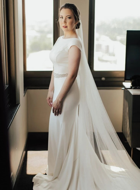 Fit Your Fashion Sense Bateau Backless Cap Sleeve White Satin Wedding Dress With Beading Sash