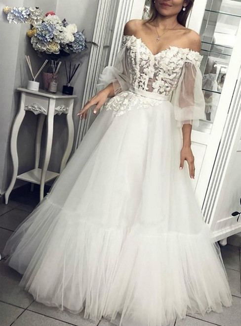 Will Be Available For Purchase A-Line White Tulle Appliques Long Sleeve Off the Shoulder Wedding Dress