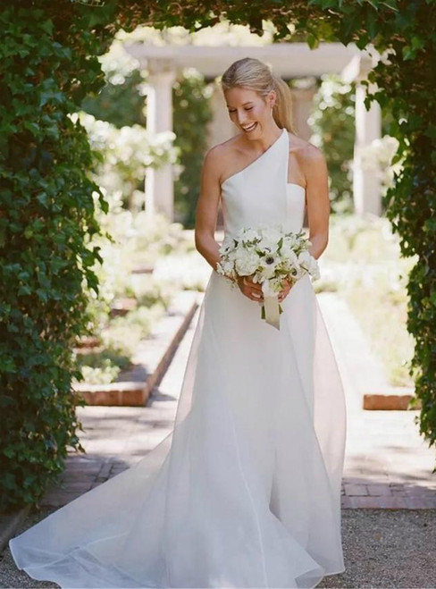 Come In All Styles And Colors White Beach Mermaid Tulle One Shoulder Front Split Wedding Dress