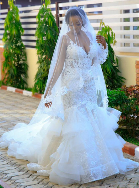 For You Next Prom Dance White Ruffles Mermaid V-neck Backless Lace Appliques Wedding Dress