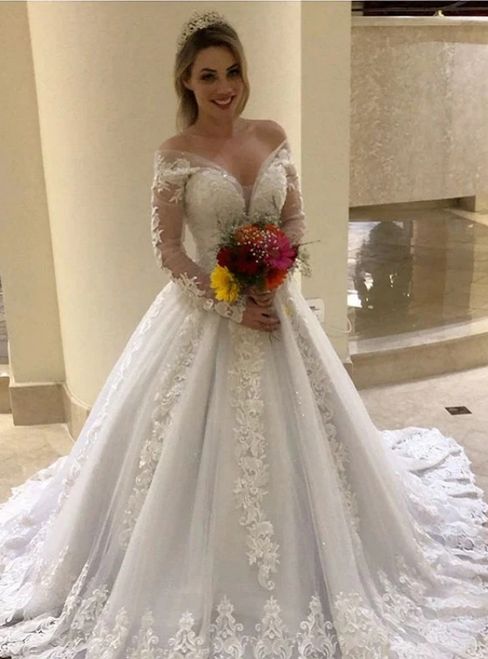 Wear a Classic White Off Shoulder Long Sleeve Appliques Illusion Wedding Dress