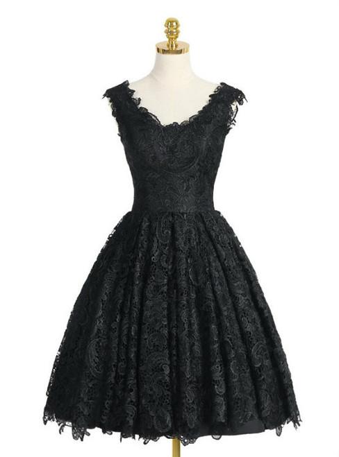 Black V-neck Prom Dress A-line Knee-length Homecoming Dress