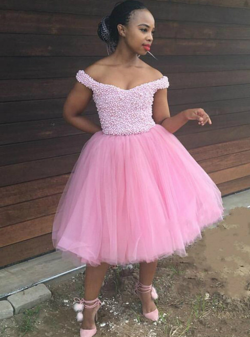 Pink Ball Gown Tulle Off the Shoulder Pearls Homecoming Dress