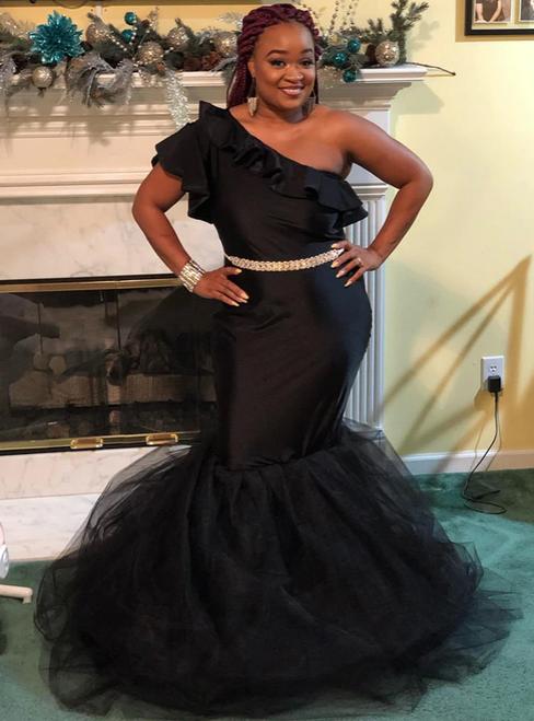 Shop 2020 Black Mermaid One Shoulder Ruffles Sash Satin Prom Dress