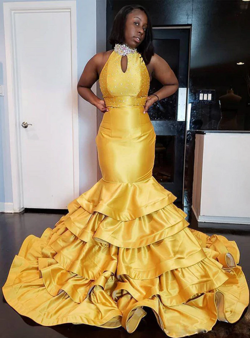 Free Shipping Yellow Mermaid Satin Halter Tiered Crystal Beads Prom Dress