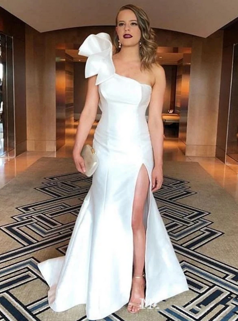 Take Center Stage In White Mermaid Satin One Shoulder Ruffles Prom Dress With Side Split