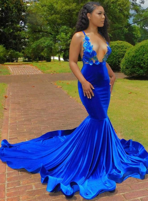 You'Ll Want Royal Blue Velvet Mermaid Deep V Neck Backless Appliques Prom Dress