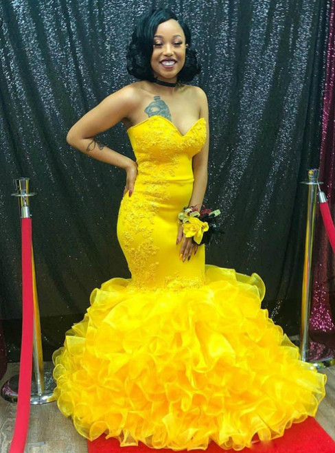 2020 Great Choice Yellow Mermaid Organza Sweetheart Ruffles Appliques Prom Dress