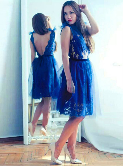 Cheap homecoming dresses 2017 Modest Lace Blue Homecoming Dress