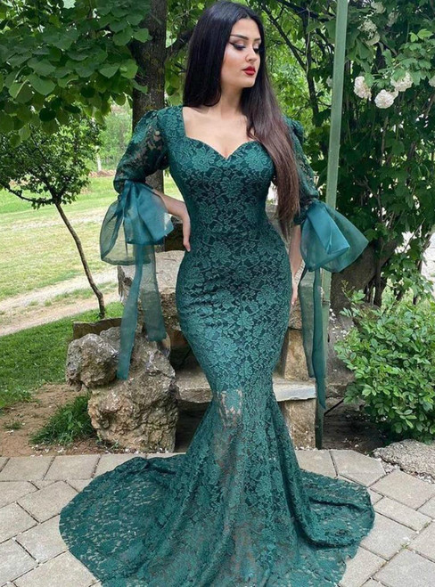 52 Colors Green Mermaid Lace Puff Sleeve Illusion Big Bow Prom Dress