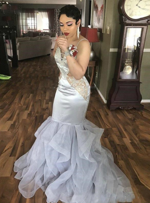 Custom Tailored Silver Mermaid Satin V-neck Appliques Beads Prom Dresses