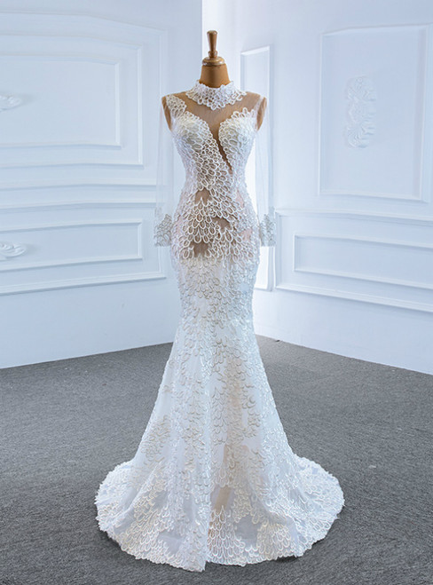 Low Price Guarantee White Mermaid Lace Long Sleeve High Neck Wedding Dress