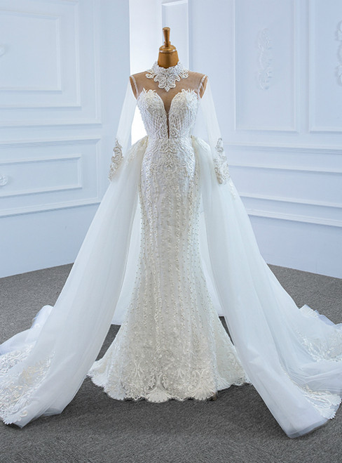 Buy More, Save More White Mrmaid Tulle High Neck Long Sleeve Pearls Wedding Dress With Removable Train