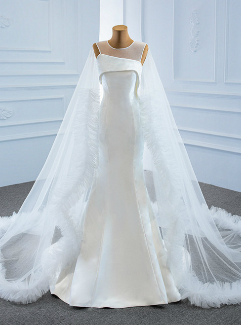 Find All Of The Latest Styles White Mermaid Satin Tulle Backless Wedding Dress With Train